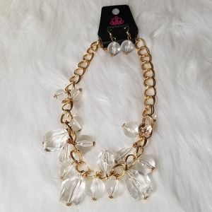 NWT Gold Clear Beaded Necklaces